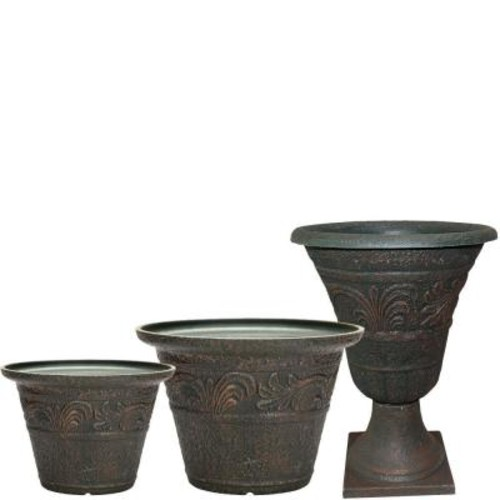 Southern Patio Tumbled Scroll 20 in. x 14 in. Rust Resin Planter Pack (Set of 3)