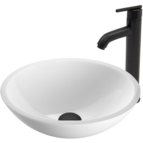 VIGO Flat Edged White Phoenix Stone Glass Vessel Sink and Seville Faucet Set in Matte Black Finish