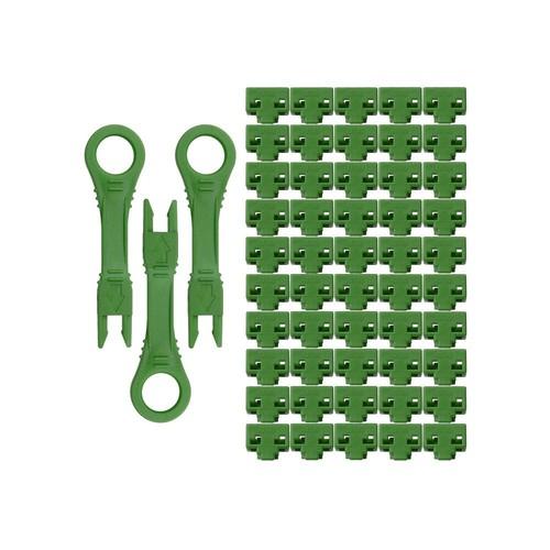 NTW net-Lock Locking RJ45 Port/Dust Blocker with Color Coded Keys, Green (50 + 3 Key)
