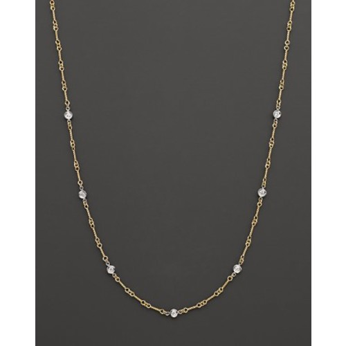 18K Yellow and White Gold Diamond Station Necklace, 16