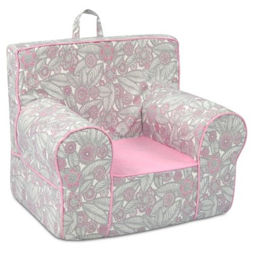 Kid's Grab-N-Go Foam Chair With Handle - Tribal Pebbles With Bubblegum Seat & Welt Trim - Pink & White - Kangaroo Trading Co.