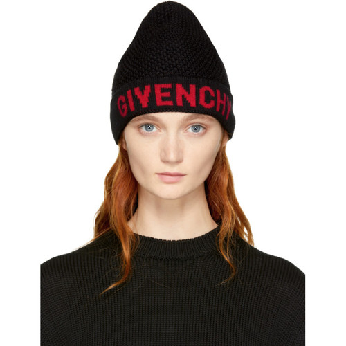 GIVENCHY Black & Red Logo Beanie