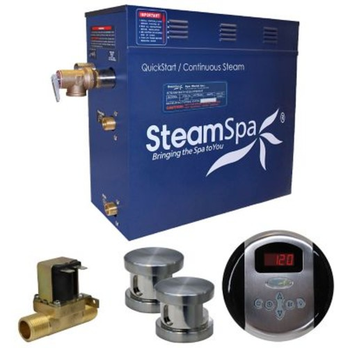 Steam Spa Oasis 12 kW QuickStart Steam Bath Generator Package w/ Built-in Auto Drain; Brushed Nickel