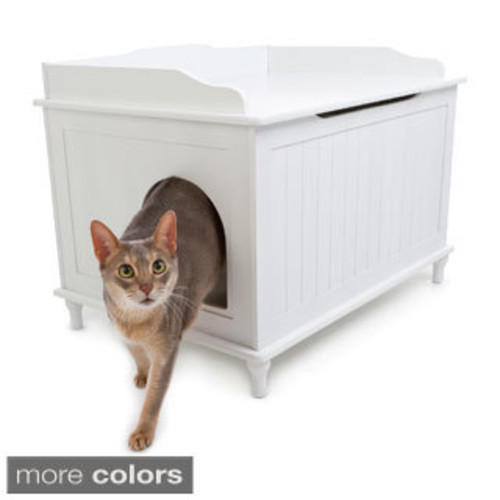 The Refined Feline's Kitty Enclosed Wooden End Table & Litter Box [option : End Table-Mahogany - Large]