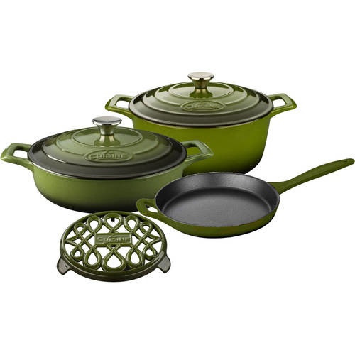 La Cuisine PRO 6-Piece Enameled Cast Iron Cookware Set with Saute, Skillet and Round Casserole with Trivet in Green