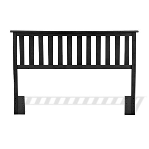 Belmont Wooden Headboard Panel with Slatted Grill Design, Black Finish, Full / Queen [Full/Queen, Belmont Headboard (Black)]