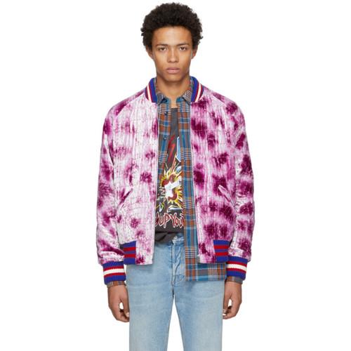Pink Velvet Embroidered Bomber Jacket