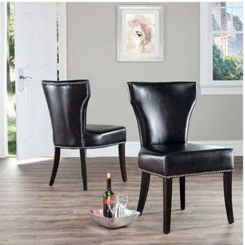 Safavieh Jappic Bicast Leather Chairs with Silver Nail Heads, Set of 2