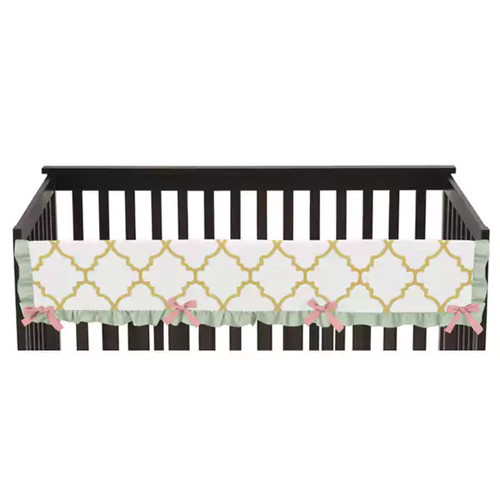 Sweet Jojo Designs Ava Collection Long Crib Rail Guard Cover - Gold, Mint, Coral and White