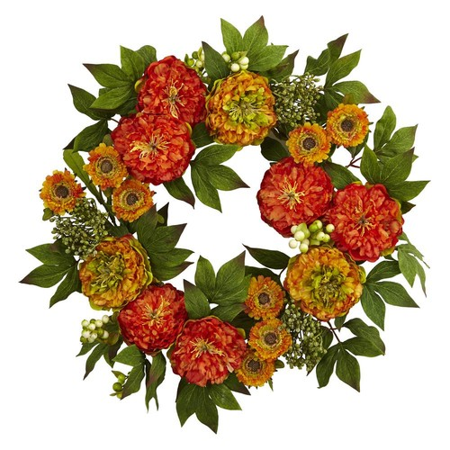 Nearly Natural 24 in. Peony and Mum Wreath