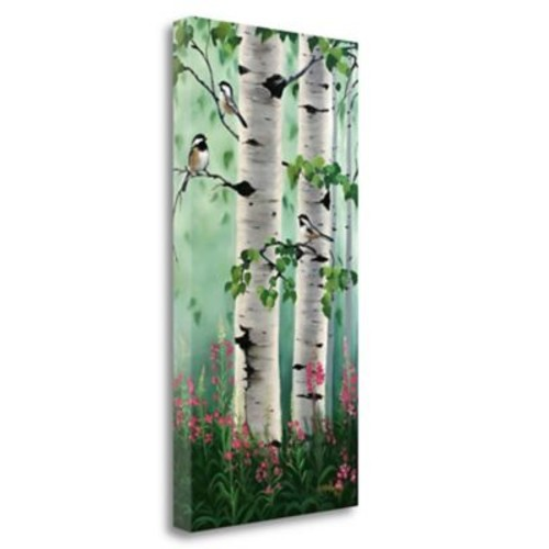 Tangletown Fine Art 'Chickadees in the Birch Trees' Print on Wrapped Canvas; 48'' H x 24'' W