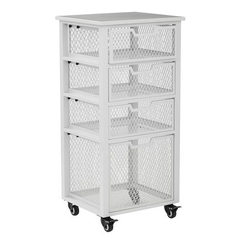 OSP Designs Clayton 4-Drawer Mesh Cage Rolling Cart