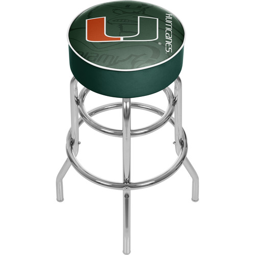 UNIVERSITY OF MIAMI Chrome Bar Stool with Swivel - Fade