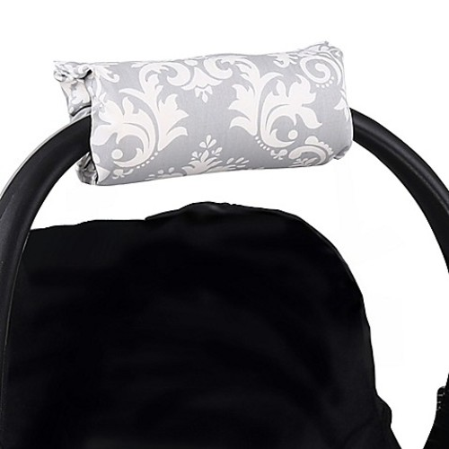 The Peanut Shell  Carrier Cushion and Car Seat Strap Cover Set in Grey Damask