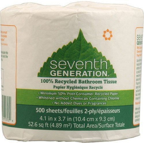 Seventh Generation 137038 100 Percent Recycled Jumbo Roll Bathroom Tissue, 2-Ply, White, 500-Roll, 60-Carton