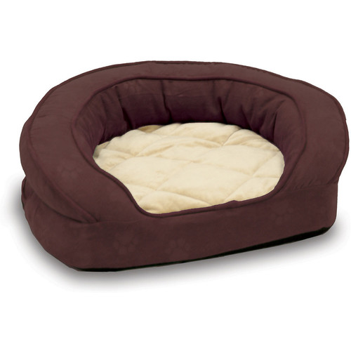 K&H Pet Products Deluxe Ortho Bolster Medium Eggplant Paw Print Sleeper Dog Bed