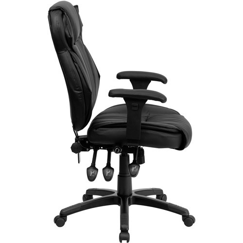 Flash Furniture High Back Black Leather Multifunction Executive Swivel Chair with Lumbar Support Knob with Arms [Black, 1]