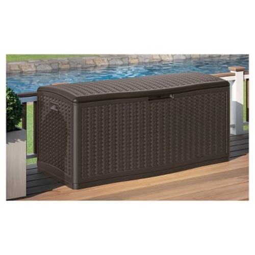 Suncast Deck Box Resin Wicker 124 Gallon
