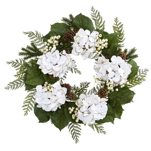 Nearly Natural 24 in. Gold Trimmed Hydrangea and Berry Wreath