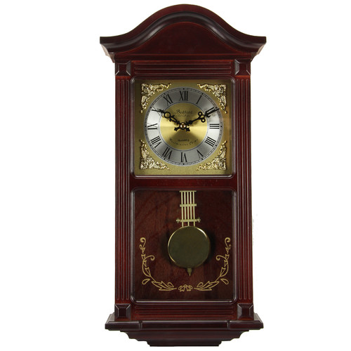 Bedford Clock Collection Mahogany Cherry Wood Wall Clock with Pendulum