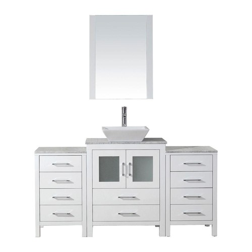 Virtu USA Dior 60 in. W x 18.3 in. D Vanity in White with Marble Vanity Top in Carrara White with White Basin and Mirror