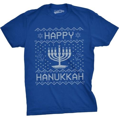 Mens Happy Hanukkah Funny Jewish Menorah Ugly Sweater T shirt