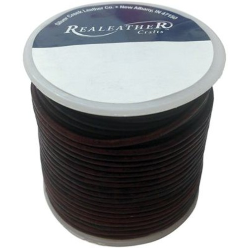 Realeather Crafts Round Leather Spool Lace, 2 mm x 25 yds., Mahogany