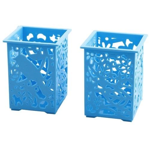 Plastic Rectangle Shape Staple Goods Storage Boxes Container Blue 2 PCS