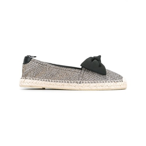 SAINT LAURENT Bow Detail Metallic Espadrilles