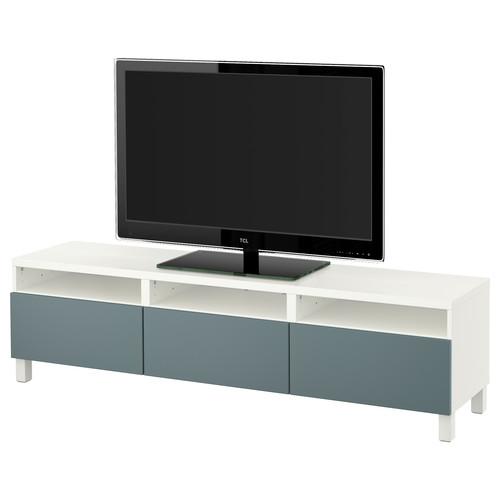 BEST TV unit with drawers, white, Selsviken high-gloss/beige [drawer : drawer runner, push-open]
