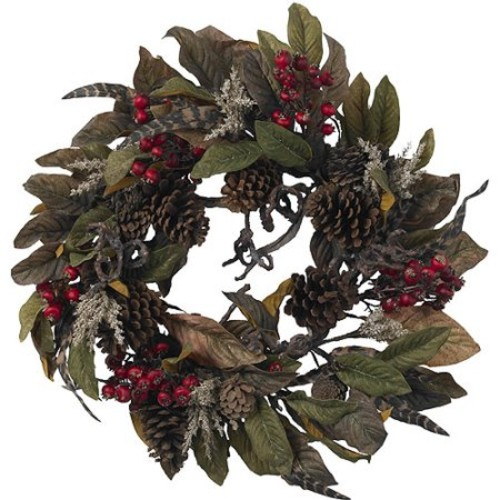 Nearly Natural 24 in. Artificial Wreath with Pine Cones, Berries, and Feathers