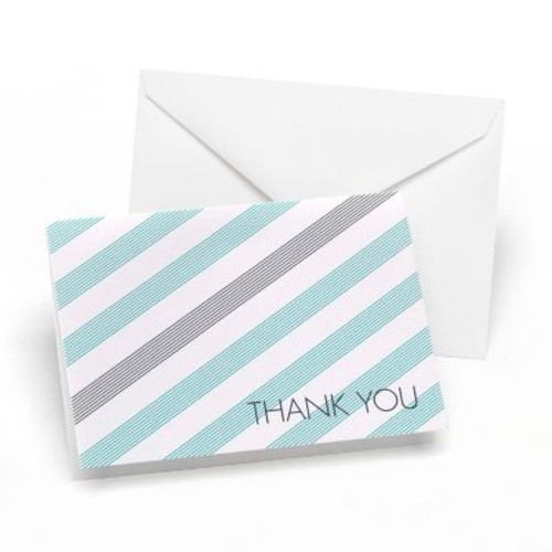 Hortense B. Hewitt Lagoon & Slate Simple Stripe Thank You Cards