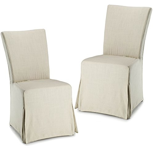 Safavieh Hudson Collection Ella Linen Slipcover Side Chairs, Beige, Set of 2