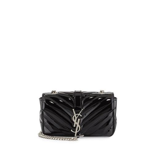 SAINT LAURENT V-Flap Patent Leather Mini Shoulder Chain Bag, Black