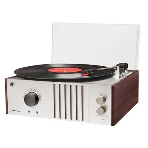 Crosley CR6017A Record Turntable - Belt DriveAutomatic Tone Arm - Mahogany - Auxiliary Audio In - Audio Line Out
