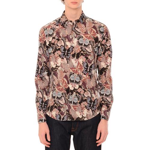 VALENTINO Camu Butterfly Long-Sleeve Sport Shirt, Navy/Pink Multi