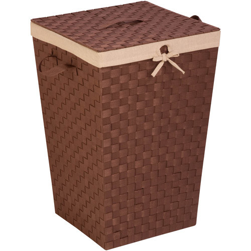 Honey Can Do Woven Strap Hamper with Liner and Lid, Java Brown