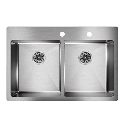 Elkay Crosstown Drop-In/Undermount Stainless Steel 33 in. Double Bowl Kitchen Sink with Bottom Grids