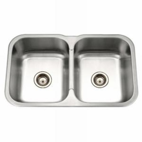 HOUZER Medallion Gourmet Series Undermount Stainless Steel 32 in. Double Bowl Kitchen Sink
