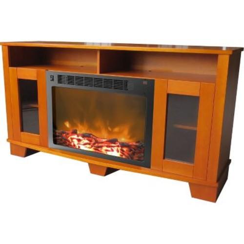 Cambridge Savona Mantle w/ Electronic Fireplace Insert; Teak