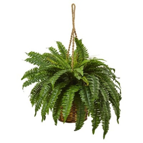 Boston Fern Hanging Basket - Nearly Natural