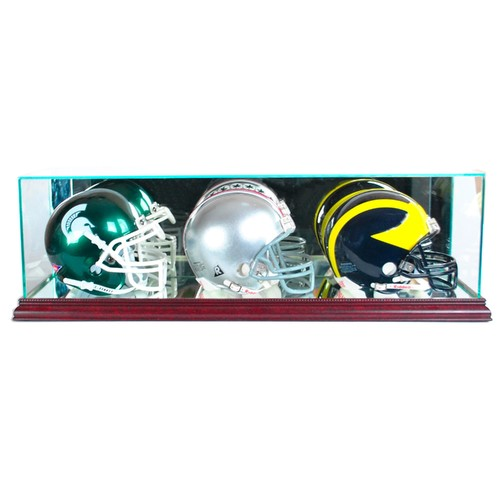 Perfect Cases Triple Mini Football Helmet Display Case with Cherry Finish