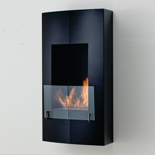 Hollywood 18 in. Ethanol Wall Mounted Fireplace in Matte Black