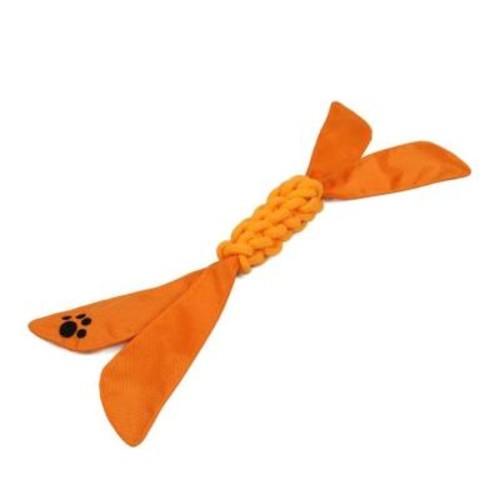 PET LIFE Extreme Twist Squeak Dog Rope Toy in Orange