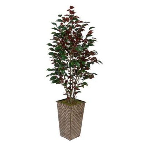 House of Silk Flowers Ficus Tree in Planter; Red (Capensia)