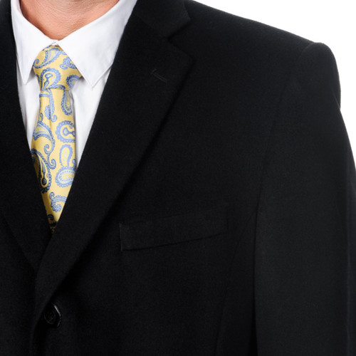 Pronto Moda Men's 'Ram' Black Cashmere Blend Top Coat