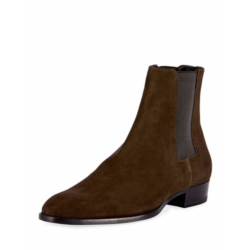 SAINT LAURENT Wyatt 30 Suede Chelsea Boot, Green
