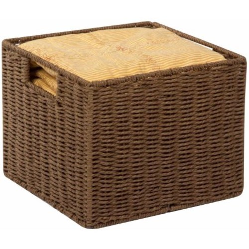Honey Can Do Parchment Cord Basket with Wire Frame and Handles, Brown