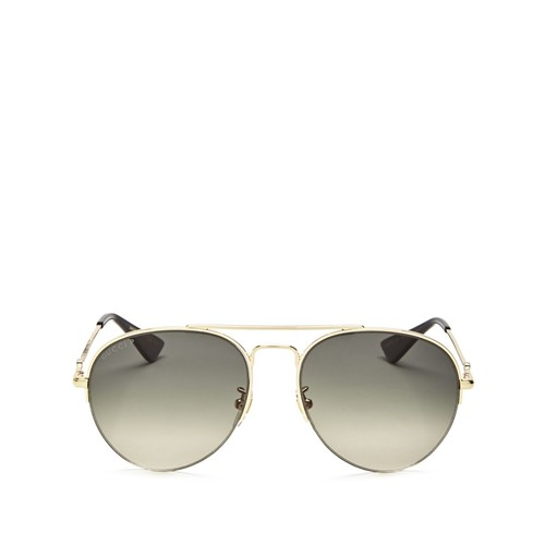 GUCCI Polarized Half Rim Aviator Sunglasses, 56Mm