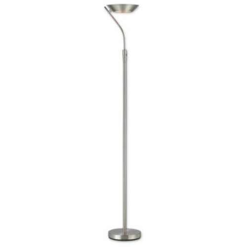 Adesso Saturn Satin Steel Torchiere Floor Lamp